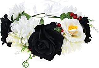 Vividsun Day of The Dead Flower Headband Rose Flower Crown Headpiece
