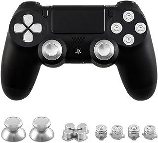 テンニオ 対応 PS4コントローラー ボタン 交換用 4アクションボタン/2スティックボタン/1 D-PADボタン (銀色)