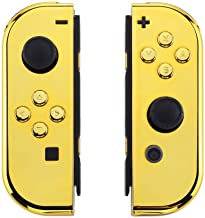 eXtremeRate Chrome Gold Joycon Handheld Controller Housing with Full Set Buttons, DIY Replacement Shell Case for Nintendo ...