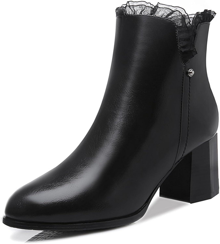 BERTERI Women's Crude Heel Side Zipper Boots Lace Lady's Ankle Boots