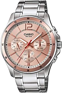 Casio Men's Rose Gold Dial Stainless Steel Analog Watch - MTP-1374D-9AVDF