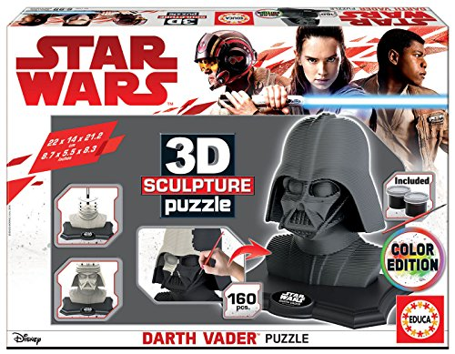 STAR WARS Dibujos Animados y cómic 3D Sculpture Puzzle Darth Vader, Black Side...