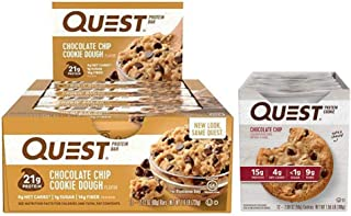 Quest Nutrition New Year New You Bundle - Chocolate Chip. and Gluten-Free Meal Replacement Snacks for Healthy Living. (12 Bars +12 Cookies).
