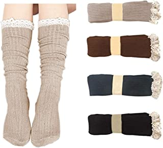 4 Pack Women Cotton Knit Boot Socks Knee High Socks Stockings with Lace Trim (Beige, Dark Grey, Black, Brown)