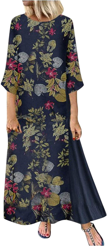 Women Maxi Long Dress Vintage Floral Print 3/4 Sleeve O Neck Casual Loose Shift Dresses Holiday Beach Shift Dress