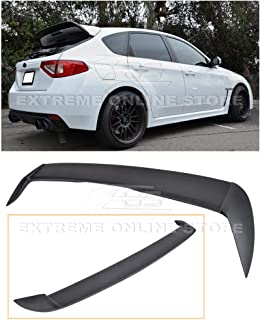Extreme Online Store Repalcement for 2008-2014 Subaru WRX & STi Hatchback/Wagon | ABS Plastic Primer Black Rear Roof Add-On Extension Wing Spoiler Gurney Flap