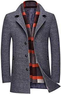 Men's Slim Fit Winter Warm Short Wool Blend Coat Business Jacket with Free Detachable Soft Touch Wool Scarf