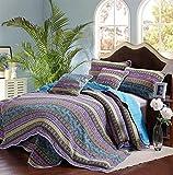 Alicemall 3 piezas de patrón colcha púrpura determinada de la raya azul acolchado Patchwork Colcha Throw juego de edredón 150 x 220 cm Azul 230x250 Cm