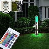 Außen Stehleuchte Bewegungsmelder Fernbedienung Steckdosen Lampe dimmbar im Set inkl. RGB LED Leuchtmittel