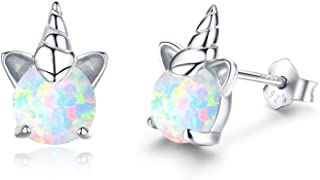 Hypoallergenic Unicorn Earrings S925 Sterling Silver Animal Earrings Synthetic Opal Stud Cute Birthday Gift for Her