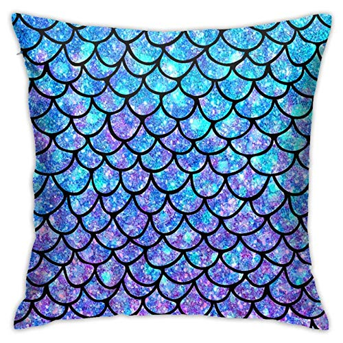 pingshang Fundas de almohada para sofá o cama, diseño de escamas de pez, 18 x 18 pulgadas