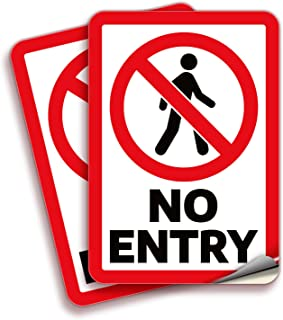 No Entry, Sign Stickers – 2 Pack 7x10 Inch – Premium Self-Adhesive Vinyl, Laminated for UV, Weather, Scratch, Water & Fade...