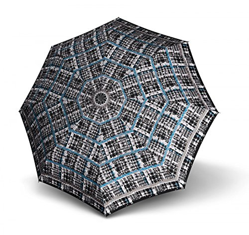 Knirps T.100 Small Duomatic Regenschirm, 23 cm, Paris Ocean (Schwarz / Blau), Länge ca. 23 cm, Durchmesser ca. 5 cm