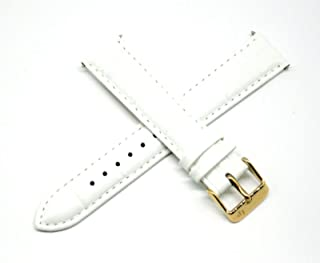 Lucien Piccard 18MM Alligator Grain Genuine Leather Watch Strap 7.5 Inches White with Gold LP Initial Buckle