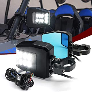Aluminium UTV Side View Mirrors with Lights, Offroad Side Mirrors Fits 1.6' to 2' Roll Bar Cage with Clear Lens LED Spot Light, Blue Anti-Glare Mirrors for UTV