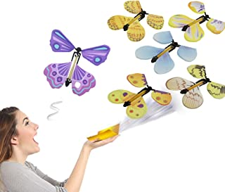 VANTIYAUS Flying Butterfly(6 PCS) Pranks and Magic,Cards with Flying in The Book Butterfly Rubber Band Powered Wind up Butterfly Toy Great Surprise Gift,Children's Magic/Magic Elementary