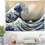 N/ A Ukiyo-e Salon Japonais Tapisserie Vague Tapisserie Peinture décorative Kanagawa Surf Tissu Suspendu