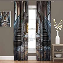 GUUVOR Rustic Room Darkened Curtain Destroyed Main Entrance Hallway of Ravaged Opera House with Symmetric Stairs Photo Insulated Room Bedroom Darkened Curtains W42 x L95 Inch Brown Beige
