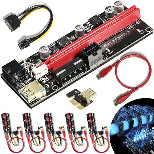 Newest VER009S PCIE Riser Express Cable 1X to 16X (Dual-6pin / MOLEX) with Led Graphics Extension Ethereum ETH Mining Powered PCI-E Riser Adapter Card, with 24inches USB 3.0 Cable, 6 Pack