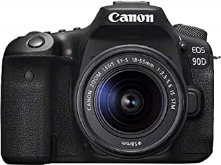Canon EOS 90D - Cámara Réflex de 32.5 MP (Sensor APS-C 45 Puntos AF Disparos de 10fps EOS Movie 4k+Full HD Wi-fi Bluetooth) Negro - Kit Cuerpo con Objetivo EF-S 18-55mm f/ 3.5-5.6 IS USM