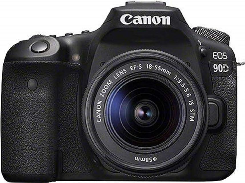 Canon EOS 90D - Cámara Réflex de 32.5 MP (Sensor APS-C 45 Puntos AF Disparos de 10fps EOS Movie 4k+Full HD Wi-fi Bluetooth) Negro - Kit Cuerpo con Objetivo EF-S 18-55mm f/ 3.5-5.6 IS USM