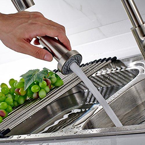 Timaco Wasserhahn Küche Einhandmischer für Küchen Spüle Gebürsteter Nickel Geschirrbrause Federbrause Mischbatterie Küchenarmatur Spültisch Armatur - 6
