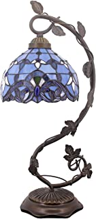 Tiffany Desk Lamp Lavender Stained Glass Table Light Blue Purple Baroque Style W8 H22 Inch for Living Room Bedroom Dresser Bookcase Coffee Table Beside Reading Set S003C WERFACTORY