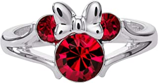 Minnie Mouse Girls Jewelry, Silver Plated Crystal Head Ring, Size 4
