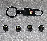 Clean movimiento nuevo acero inoxidable Abarth Logo negro neumático tapón de la válvula insignia emblema llavero Coche llavero estilo de coche Auto accesorios