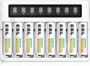 EBL LCD Chargeur de Piles Rapide- avec 8PCS AA 2800mAh Piles Rechargeables, Charge Rapide 5V/2A, avec Fonction de Décharge