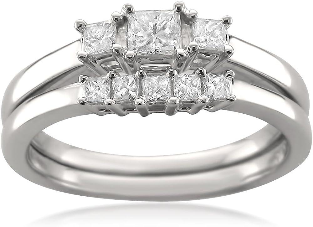 1/2 Carat Diamond,Prong-Set 14kt White Gold Princess-Cut Diamond Three-Stone Engagement Bridal Set Wedding Ring (I-J, I1-I2) by La4ve Diamonds | Real Diamond Wedding Ring For Women | Gift Box Included