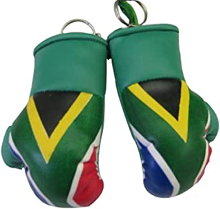 Flag Mini Small Boxing Gloves to Hang Over Car Automobile Mirror – Asia & Africa (1-Pack, Country: South Africa)
