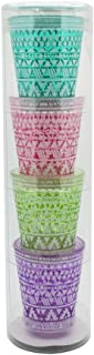 TMD Holdings Aztec Stack Shot Glasses, Set of 4, 1.5 oz, Multicolored