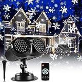 Christmas Snowflake Projector Lights Outdoor, ECOWHO Upgrade Binocular Rotating Snowfall...