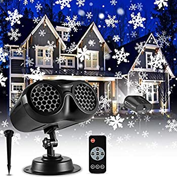 Christmas Snowflake Projector Lights Outdoor ECOWHO Upgrade Binocular Rotating Snowfall LED Light Projector with Remote Control Waterproof Landscape Lights for Xmas Halloween Holiday Party