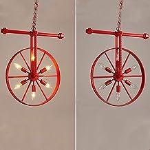 Industriële retro kroonluchter wiel kroonluchter smeedijzeren kroonluchter rood groen roest kleur restaurant bar diameter ...