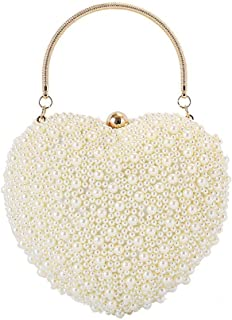 Ladies Banquet Bag Pearl Evening Bag, Evening Bag with Heart Chain, Female Bag with One Shoulder, Two Colors, 18 * 17 * 10cm Shining (Color : White) (Color : Yellow)