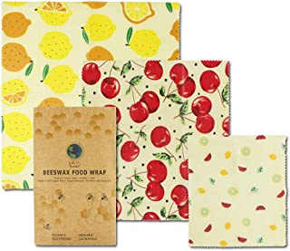 Beeswax Wrap Organic Reusable Food Wraps | Savvy Planet Eco Friendly Storage | All Natural Zero Waste | 3 Sizes Premium Plastic Free Non Toxic Sustainable | Save Money & Earth With Vegan Bees Wrappers