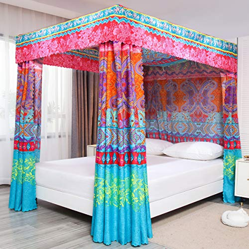 Pangzi Bohemian 4 Corner Post Bed Curtain Canopy Bed Curtain Drapes for Adults Girls (Queen, Red)