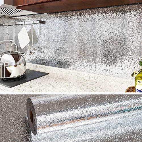 VEELIKE Papel Pintado Plata Papel de Pared Vinilo 0.4m x 18m Papel Autoadhesivo Pared Lavable Cocina Efecto Acero Inoxidable Aluminio Efecto Papel Adhesivo para Muebles Papel Tapiz Comedor Decorativo