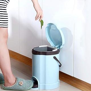 Zhicaikeji Poubelle ronde à pédale en plastique de 12 litres pour salle de bain, dressing, chambre à coucher - Couleur : b...