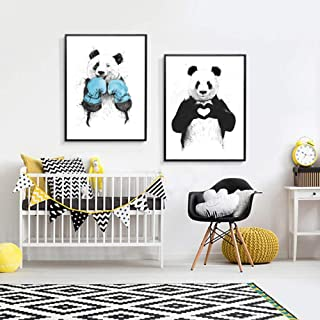qiumeixia1 Funny Boxing Panda Animal Banksy Canvas Prints Painting Nursery POP Wall Art Pictures Poster for Kids Room Home Decor 5070 cm No Frame