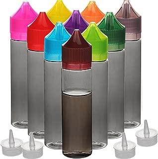 10pcs empty 60ml PET ejuice bottle vape bottle Unicorn dropper bottle Vape bottle DIY Eliquid bottle (Black-trans + Color cap, 60ML X 10PCS)