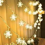 Christmas Llights - Guirnalda de luces para exteriores, diseño de copos de nieve, 1,5 m, 10 luces LE...