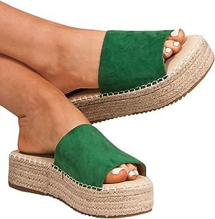 Womens Platform Espadrille Slide Sandals Open Toe Flat Slip On Summer Sandals