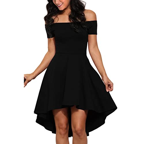 ad153417aa810 Chase Secret Womens Summer Off The Shoulder Short Sleeve High Low Cocktail  Skater Dress