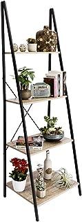 C-Hopetree Ladder Shelf Boocase Storage Rack Bookshelf Plant Stand Display Shelving, 4-Tier Industrial Wood Look Accent Home Office Furniture, Black Metal Frame