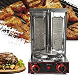 Barbacoa de pollo, parrilla de mesa, parrilla para kebab, asador, 220 V, 3000 W, 2 quemadores eléctricos, máquina kebab de acero inoxidable.