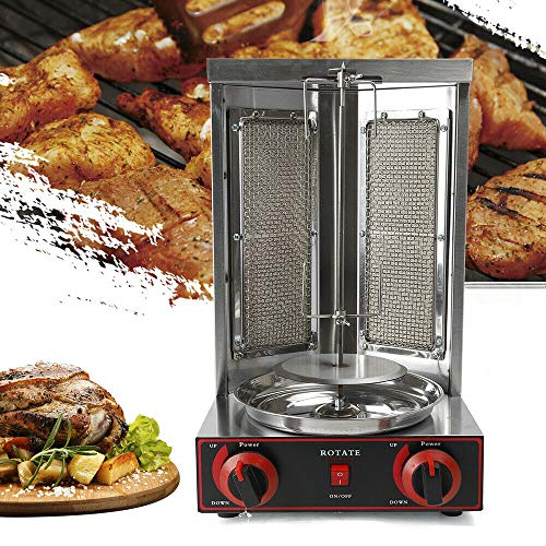 Gas Vertical Broiler Doner Kebab Gyro Grill Machine Shawarma Machine Outdoor Party Grills BBQ Cooking Tool Stainless Steel 110V Grills Propane