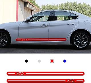 carado Racing Body Side Stripe Skirt Roof Hood Decal Sticker for ALFA Romeo Stelvio Giulia 4C Giulietta Vinyl Sport Badge Car Styling Accessories Red 1 Pair